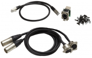 Adapter cable set 2 x DMX/XLR5, 1 x etherCON RJ45